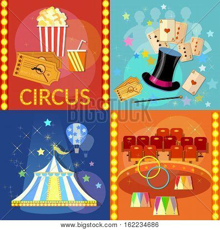 Circus set icon. Magician circus shows tricks focuses vector illustration