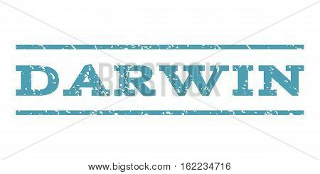Darwin watermark stamp. Text tag between horizontal parallel lines with grunge design style. Rubber seal stamp with unclean texture. Vector cyan color ink imprint on a white background.