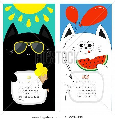 Cat calendar 2017. Cute funny cartoon white black character set. July August hello summer month. Ice cream yellow sun shining sunglasses. Red balloon watermelon. Flat design Color background Vector
