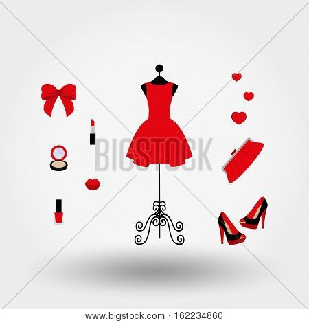Vintage mannequin in a red dress high heels clutch bag powder lipstick nail polish. Icons set for web and mobile application. Vector illustration on a white background. Flat design style.