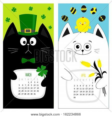 Cat calendar 2017. Cute funny cartoon character set. March April spring month. Green hat tye bow chicken egg. Clover leaf tulip flower. Happy Patricks day Easter Flat design. Color background. Vector
