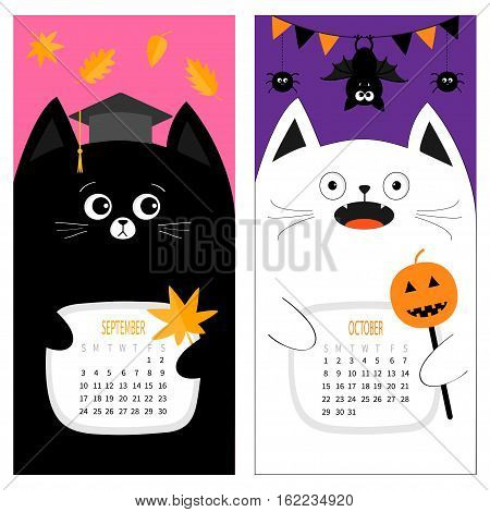 Cat calendar 2017. Cute funny cartoon character set. September October autumn month. Orange leaf Graduation hat Academic Cap Bat spider flag pumpkin candy Happy Halloween Flat Color background Vector