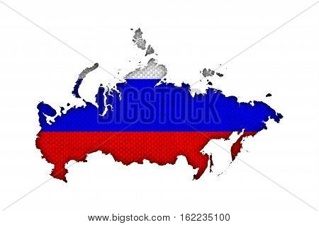 Map And Flag Of Russia On Old Linen