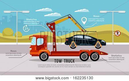 Car service infographic auto towing tow truck for transportation faults and emergency cars vector. Tow truck in the city