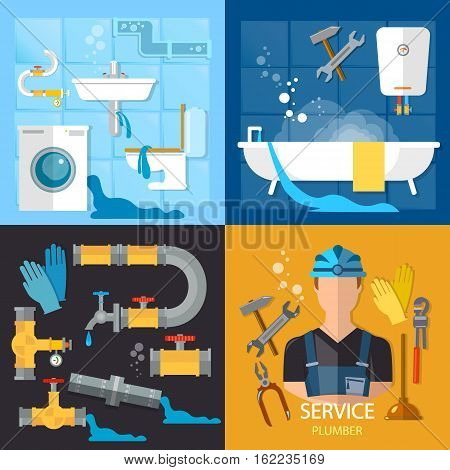 Plumbing service set. Professional plumber different tools and accessories pipe repair elimination of leaks.