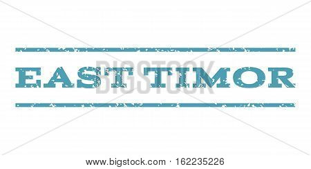 East Timor watermark stamp. Text caption between horizontal parallel lines with grunge design style. Rubber seal stamp with unclean texture. Vector cyan color ink imprint on a white background.