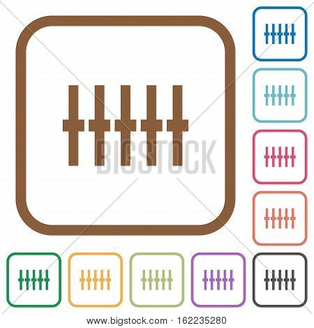 Graphical equalizer simple icons in color rounded square frames on white background