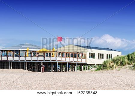 Beach restaurant pavilion in South Holland Netherlands