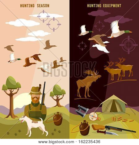 Hunting banners hunter with rifle and dog in forest duck hunting ammunition: binoculars vector illustration