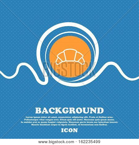 Croissant Bread Icon Sign. Blue And White Abstract Background Flecked With Space For Text And Your D