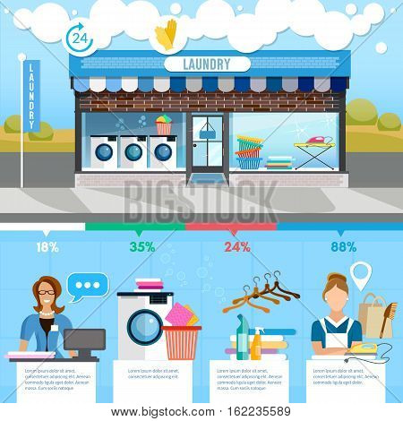 Laundry service infographic interior. Laundry room with facilities for washing laundry staff washing machine clothes vector