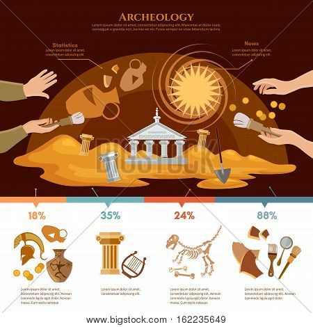 Archeology and paleontology concept. Archaeological excavation infographics achaeologists unearth ancient artifacts ancient history