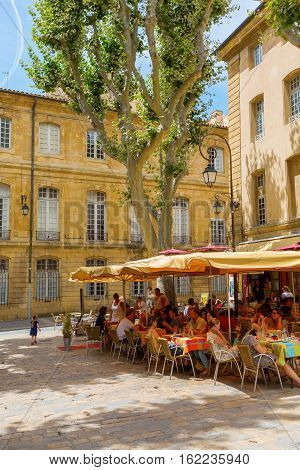 Picturesque Square With Cafes In Aix-en-provence, France