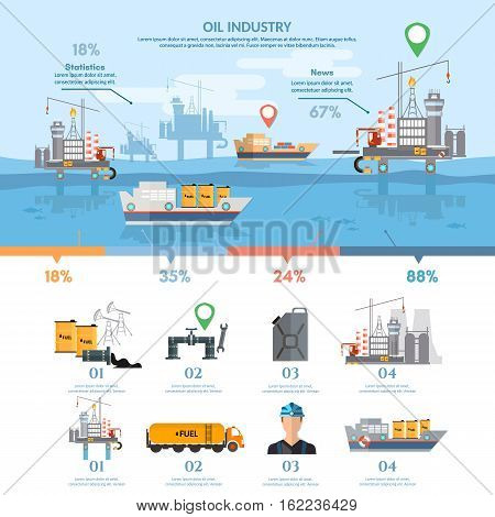 Oil industry infographics banner production and transportation of oil purification of oil and gas products vector