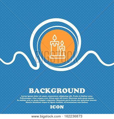 Candle Icon Sign. Blue And White Abstract Background Flecked With Space For Text And Your Design. Ve