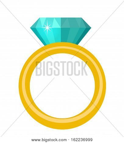 Ring with diamond, gems ring icon, flat design. Isolated on white background. Vector illustration, clip art