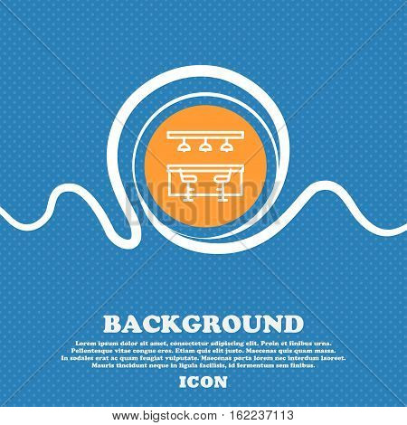 Bar Restaurant Icon Sign. Blue And White Abstract Background Flecked With Space For Text And Your De