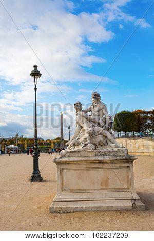 Historic Sculpture In The Tuileries Garden In Paris, France