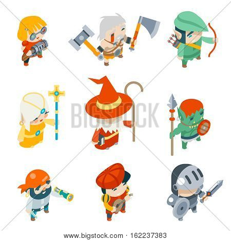 Fantasy RPG Game Characters Isometric Vector Icons Set Vector Illustration