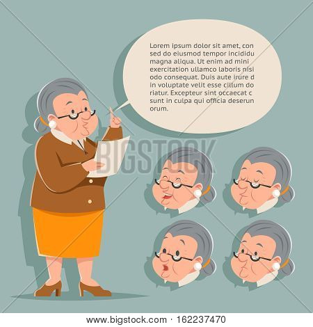 Teacher Emotion Old Female Granny Character Adult Constructor Set Isolated Retro Cartoon Vintage Art Design Vector Illustration