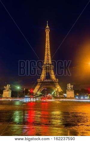 Eiffel Tower With Light Performance In Paris