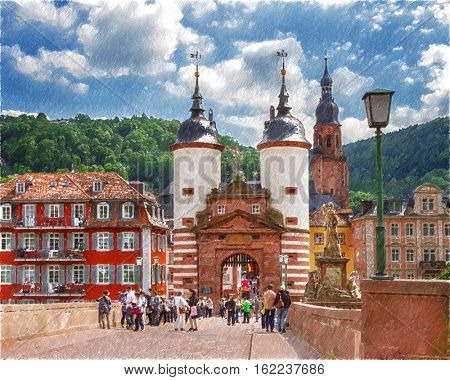 Famous Old Bridge Gate. Heidelberg, Germany.  Digital illustration in draw, sketch style.