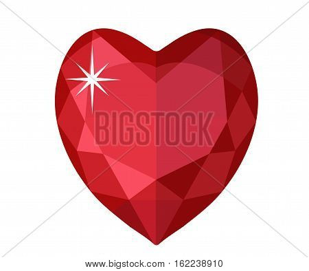 Jewelry heart. Gemstones heart shaped. Colorful diamond. Vector illustration, clip art