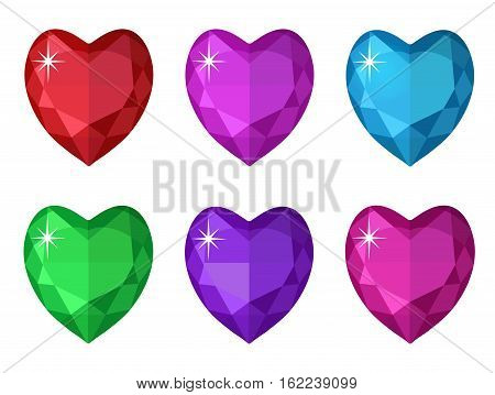 Jewelry heart set. Gemstones heart shaped collection. Colorful diamonds. Vector illustration, clip art