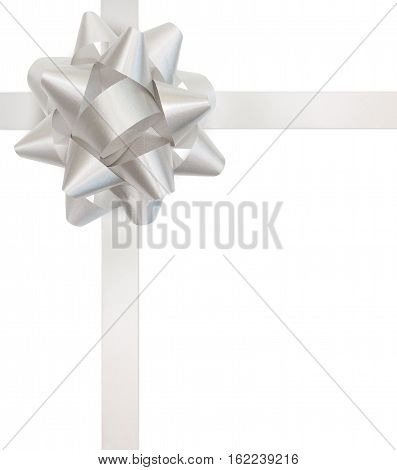 White gift bow and ribbon isolated with clipping path