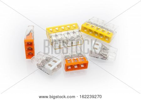 poster of Compact splicing connector with connected wire isolated on white background.