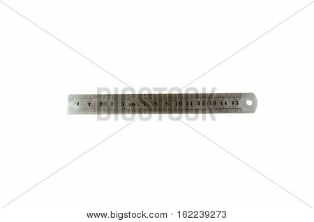 Metal ruler isolated on a white background