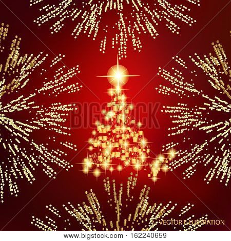 Abstract background with christmas tree, lines, stars and ornaments. Illustration in red and gold colors with gold placer in border. Vector illustration.