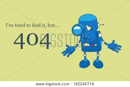 Sad robot spreads its hands. Error 404 page design template.