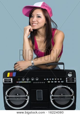 Attractive young cool hip hop dancer with boom box poster