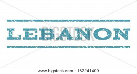 Lebanon watermark stamp. Text tag between horizontal parallel lines with grunge design style. Rubber seal stamp with dust texture. Vector cyan color ink imprint on a white background.
