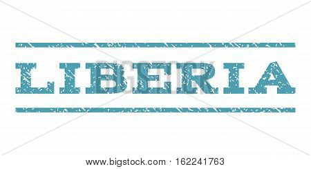Liberia watermark stamp. Text tag between horizontal parallel lines with grunge design style. Rubber seal stamp with unclean texture. Vector cyan color ink imprint on a white background.