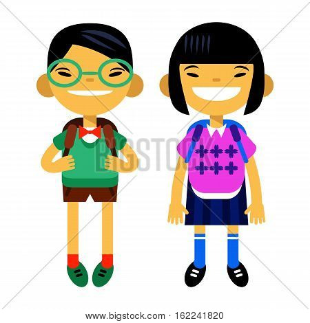 two asians students, schoolchild, cute boy and girl in the form of a white background. Vector illustration of a flat design