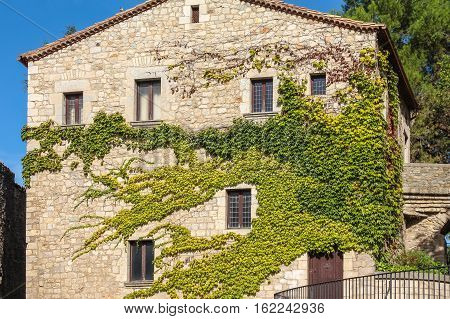 Front Of The House, Overgrown With Ivy In The Spanish City Of Gerona
