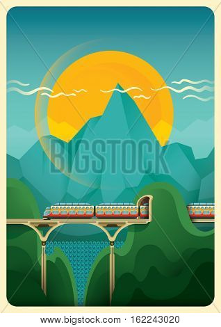 Modern illustration in color of railway track in the wilderness. Vector illustration.