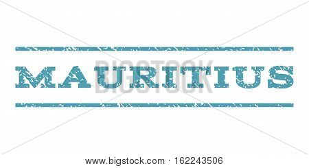 Mauritius watermark stamp. Text caption between horizontal parallel lines with grunge design style. Rubber seal stamp with dirty texture. Vector cyan color ink imprint on a white background.
