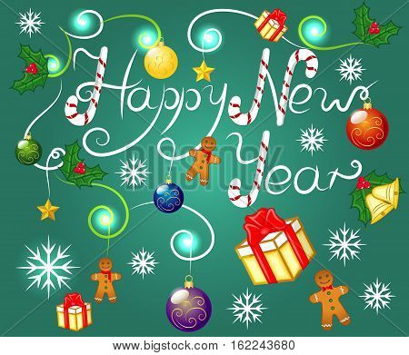 Happy New Year, Holiday, Gingerbread Cookies, Gifts, Christmas Balls, Jingle Bells, European Holly, EPS 10