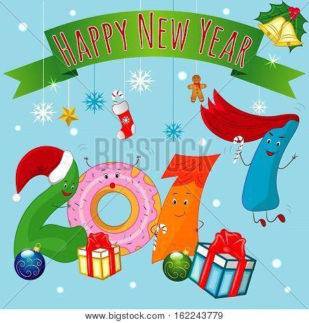 Happy New Year, Funny 2017, XMas Balls, Gifts, Holiday, Gingerbread Man Cookies, Christmas Candy, Socks, Hat, Gold Stars, Jingle Bells, European Holly, Ilex Aquifolium EPS 10