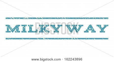 Milky Way watermark stamp. Text tag between horizontal parallel lines with grunge design style. Rubber seal stamp with unclean texture. Vector cyan color ink imprint on a white background.