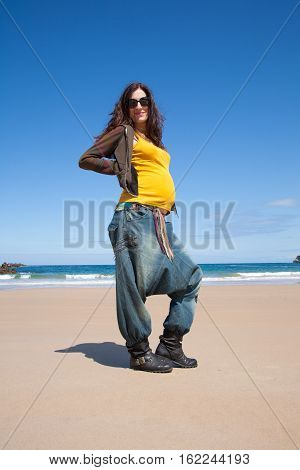 Portrait Yellow Shirt Pregnant At Beach