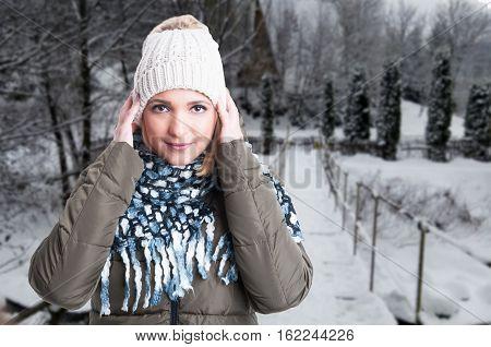 Female Model Outside In Winter Park
