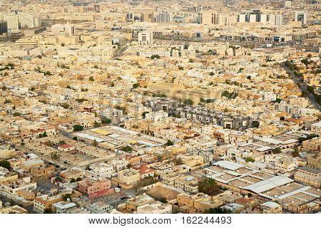 Aerial view of Riyadh downtown, Saudi Arabia.