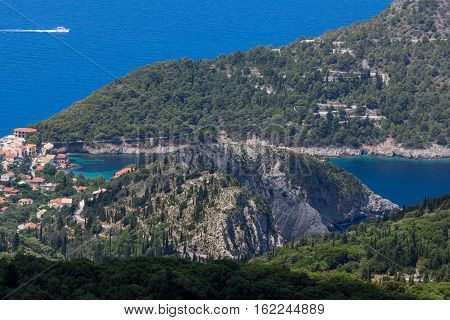 Amazing View of Assos village and beautiful sea bay, Kefalonia, Ionian islands, Greece