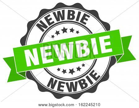 newbie. stamp. sign. seal. round. retro. ribbon