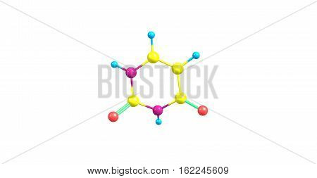 Uracil is one of the four nucleobases in the nucleic acid of RNA. 3d illustration