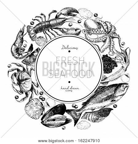 Vector hand drawn seafood logo. Lobster salmon crab shrimp ocotpus squid clams.Engraved art in round border composition. Delicious menu objects. Use for resaurant promotion market store banner
